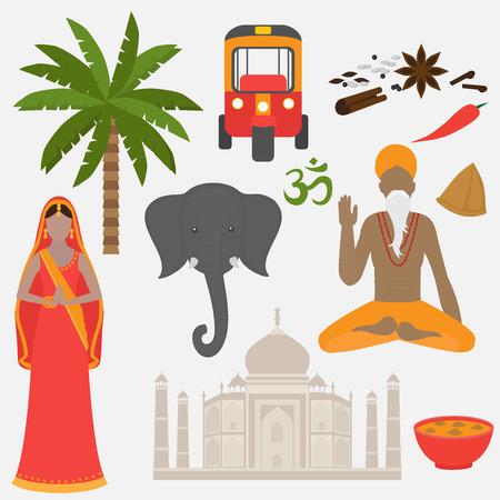 santa cena: India estableció. elementos de diseño hinduismo. Sur de Asia hermosa mujer y hombre que llevaba tela tradicional india. Taj Mahal en Agra famoso templo. cocina védica, conjunto de la comida sana vegetariana. tradicional fiesta de Holi de colores.