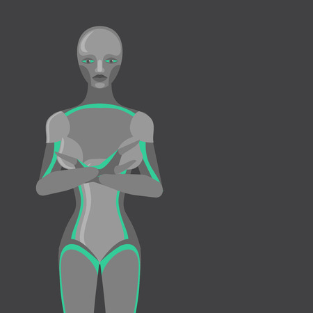 humanoid: Robot woman, female cyborg, technology characters, flat humanoid from future, mechanical chrome body