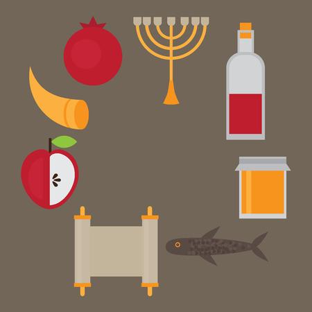 judaic: Rosh Hashanah Jewish New Year greeting card. Hebrew symbols. Judaism elements. Judaic religion