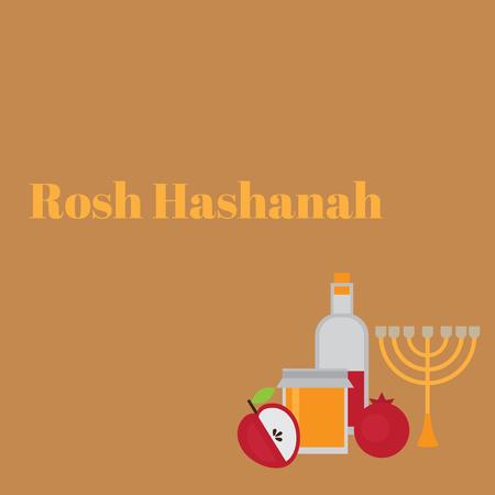 Rosh Hashanah Jewish New Year greeting card. Hebrew symbols. Judaism elements. Judaic religion