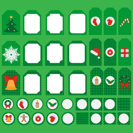 candycane: Printable set of Christmas and New Year party elements. Templates, labels, icons and wraps with Gift, holly, jingle bells, cookie, Xmas tree ball, mittens, fir tree and candycane. Design elements. Illustration