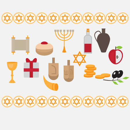 Jewish holiday Hanukkah design elements with traditional donuts, holiday candlestick menora and scroll, horn and wooden spinning top and coins. Happy Hanukkah greeting card. Hebrew Judaism symbols Illustration