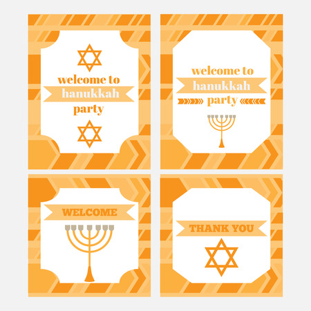 Printable set of Jewish holiday Hanukkahparty elements. Templates, labels, icons and wraps. with traditional donuts, holiday candlestick menora and scroll, horn and wooden spinning top and coins. greeting card. Hebrew Judaism symbols Illustration