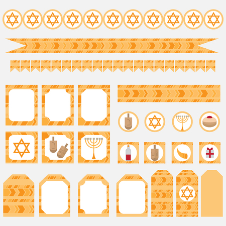 Printable set of Jewish holiday Hanukkah party elements. Templates, labels, icons and wraps with traditional donuts, holiday candlestick menora and scroll, horn and wooden spinning top and coins. Hebrew Judaism symbols Illustration