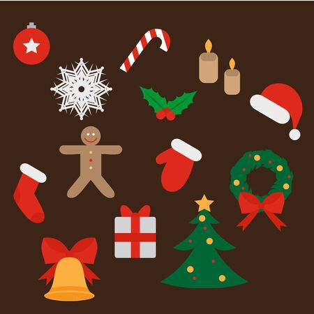 candycane: Christmas and New Year icons set. Gift, holly, jingle bells, cookie, Xmas tree ball, mittens, fir tree and candycane. Design elements. Illustration