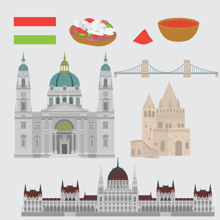 Hungarian City sights in Budapest. Hungary Landmark Global Travel And Journey Architecture Elements , Chain Bridge. Budapest parliament, Fishermans bastion, St. Istvan basilica. Traditional food goulash, langos Illustration