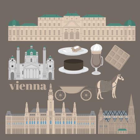 town hall: Austrian City sights in Vienna. Austria Landmark Travel And Journey Architecture Elements Stephansdom, Karlskirche, Belvedere palace and Town hall