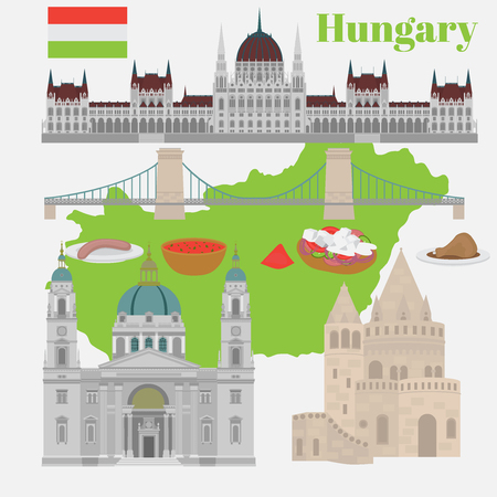 Hungarian City sights in Budapest. Hungary Landmark Global Travel And Journey Architecture Elements Buda castle, Chain Bridge. Budapest parliament, Fishermans bastion, St. Istvan basilica. Traditional food goulash, langos Illustration
