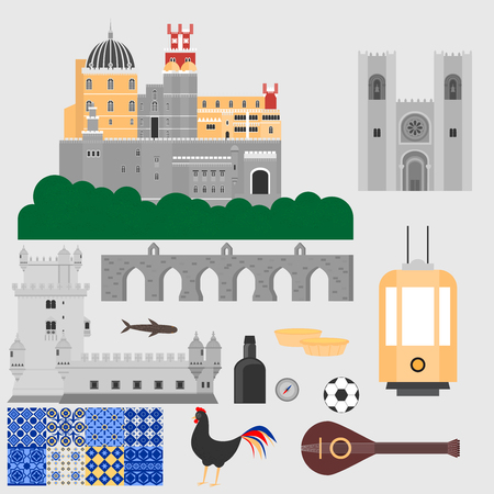 Travel landmark Portugal elements. Flat architecture and building icons Tower Belem, Sintra castle Pena Palace, aqueduct of freedom name Aguas libre and Cathedral of Lisbon. National portuguese symbol fado music, wine porto, traditional tile azulezhu. Des Illustration