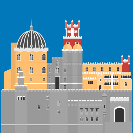 pena: Travel landmark Portugal elements. Flat architecture and building icons Sintra castle Pena Palace, National portuguese symbol