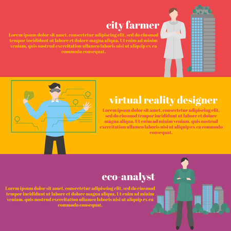 futuristic man: Future professions set. Futuristic occupation. Man with VR headset. Designer Virtual reality for education and games. Eco-analyst. Ecology of sity analysis. Future and people concept. City farmer