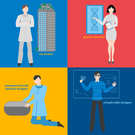 futuristic man: Future professions set. Futuristic occupation. Man with VR headset. Designer Virtual reality. City farmer. Genetic counselor. Unmanned aircraft interface designer