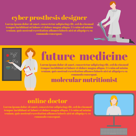 genes: Future doctors and nurses and medical staff. Medical futuristic team in flat design people character. Molecular diet, genes, prostheses, it medic and online doctor
