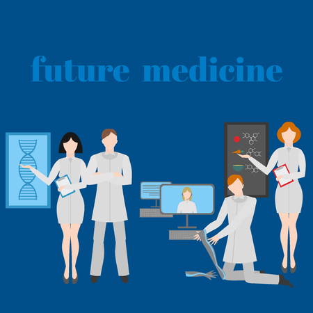 genes: Future doctors and nurses and medical staff. Medical futuristic team in flat design people character. Molecular diet, genes, prostheses, it medic and online doctor.