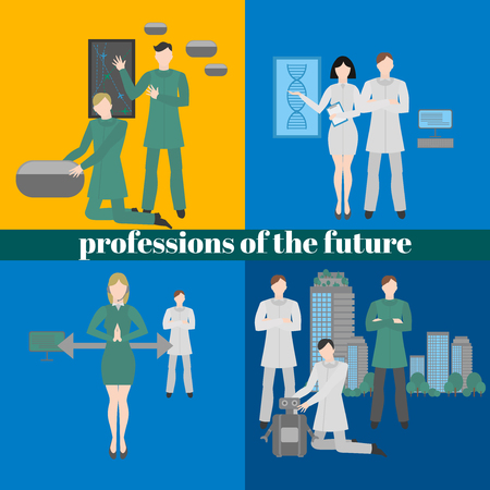 Future professions set. Futuristic occupation. Work in medicine, building, design and robotics. It technology