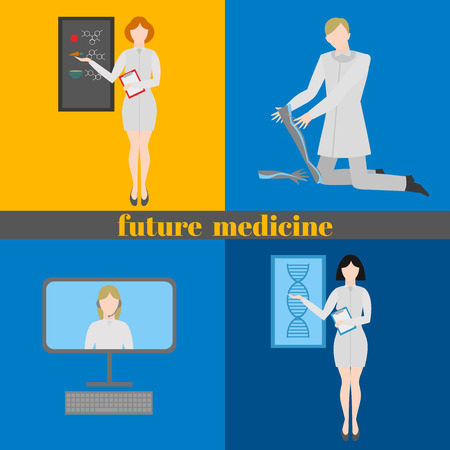 genes: Future doctors and nurses and medical staff. Medical futuristic team in flat design people character. Molecular diet, genes, prostheses, it medic and online doctor,