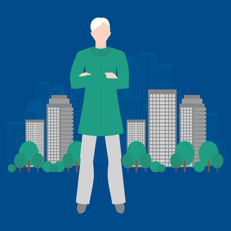 Eco-analyst. Ecology of sity analysis. Future and people concept. Can be used for advertisement, infographics, game or mobile apps icon.