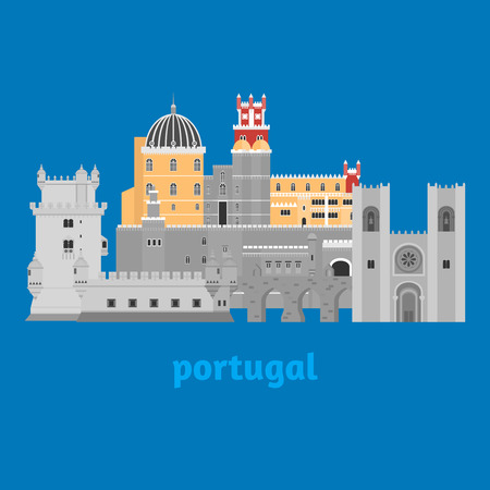 Travel landmark Portugal elements. Flat architecture and building icons Tower Belem, Sintra castle Pena Palace, aqueduct of freedom name Aguas libre and Cathedral of Lisbon. National portuguese symbol Illustration