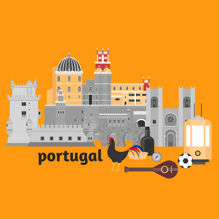 aqueduct: Travel landmark Portugal elements. Flat architecture and building icons Tower Belem, Sintra castle Pena Palace, aqueduct of freedom name Aguas libre and Cathedral of Lisbon. National portuguese symbol fado music, wine porto. Dessert pastel, rooster, ball, Illustration