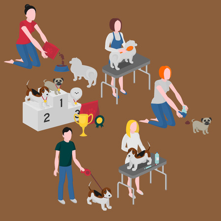 turd: Isometric set of dog care. Pet owner feeding, walking and cleaning. Veterinary and grooming. Doggy competition winners. Pug, spitz and beagle