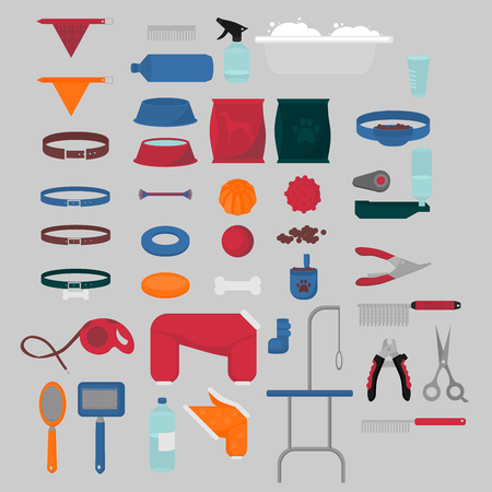 Flat isolated set of dog items elements. Pet icons walking, feeding, grooming salon equipment. Doggy fashion clothes, tools groomer collection, healthy nutrition