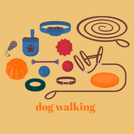 clicker: Dog walking elements. Flat isolated set, pet walk items. Doggy training icons collar, leash and headstall. Play objects ball, liker, puller and frisbee, treat and cord. Illustration