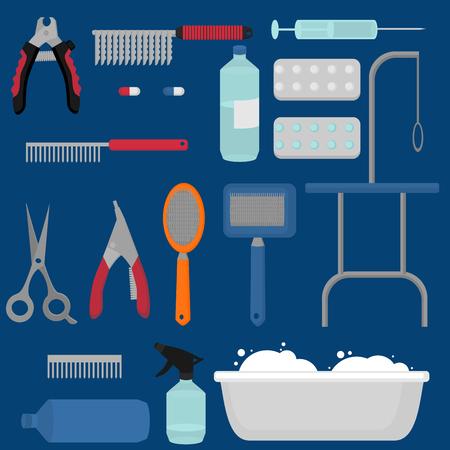 フラット サロン機器セットをグルーミング、犬の散髪は、アイコンをツールします。犬 groomer コレクション、つめきり、カッター、スリッカー ブラ