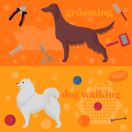 Horozontal banner, dog design elements, Irish setter and samoyed in flat style. Grooming, walking and training items