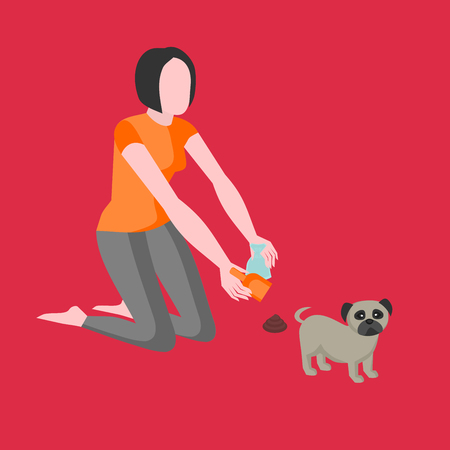 Clean up after your dog. Girl owner is cleaning excrements with a scoop and a paper bag. Shit pet icon, hygiene sign. Animal feces garbage symbol, doggie toilet, woman removes faeces Illustration