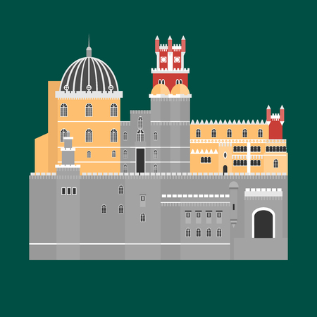 Travel landmark Portugal elements. Flat architecture and building icons Sintra castle Pena Palace, National portuguese symbol