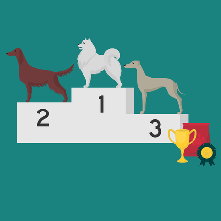 Winner pedestal. Puppy wining a dog show, pet on the first place. Illustration