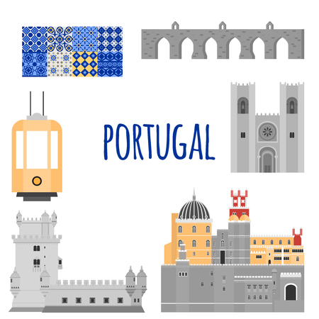 belem: Travel landmark Portugal elements. Flat architecture and building icons Tower Belem, Sintra castle Pena Palace, aqueduct of freedom name Aguas libre and Cathedral of Lisbon. National portuguese symbol traditional tile azulezhu and yellow tram