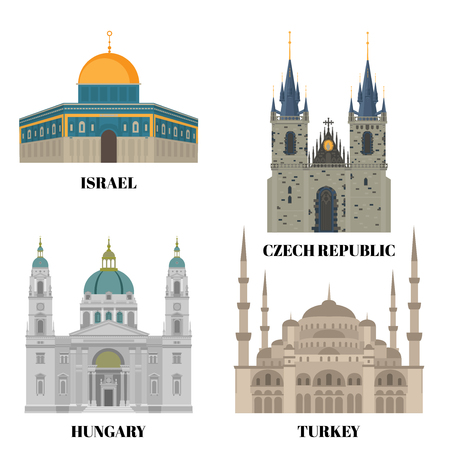 Israel, Hungary, Turkey and Czech Republic travel icons. Country sightseeing symbols, Eastern and European landmarks. Flat architecture