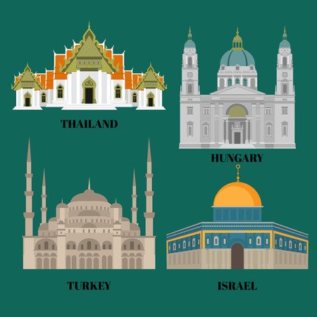 Israel, Hungary, Turkey and Thailand travel icons. Country sightseeing symbols, Eastern and European landmarks. Flat architecture