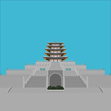 South Korea country design flat cartoon elements. Travel landmark, Seoul tourism place. World vacation travel city sightseeing Asia building collection. Asian architecture National Folk Museum isolated.