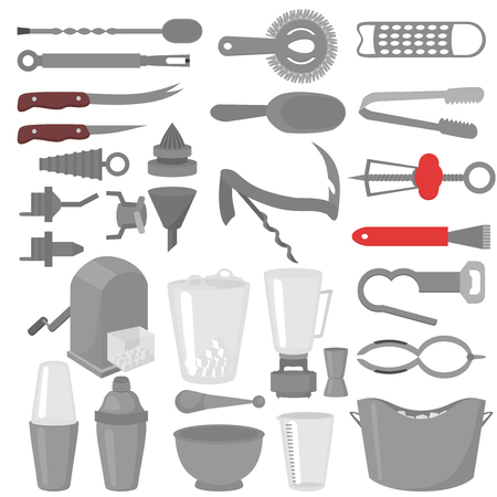 Flat Barman Mixing, Opening and Garnishing Tools. Bartender equipment Shaker, Opener, Mixing glasses. Ice Buckets, Bottle Pourers, Bar spoon. Isolated instrument icon.