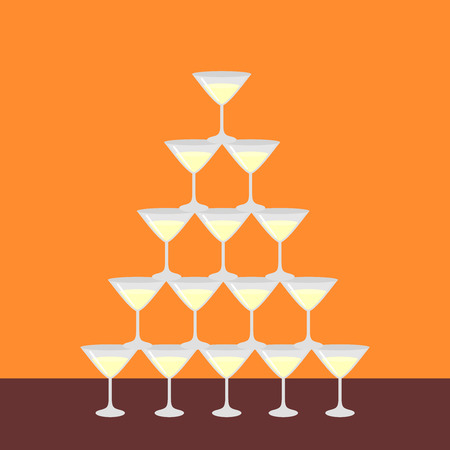 Flat pyramid of glass alcoholic martini, champagne with bubbles isolated, poster for restaurant bar menu. Barman show.