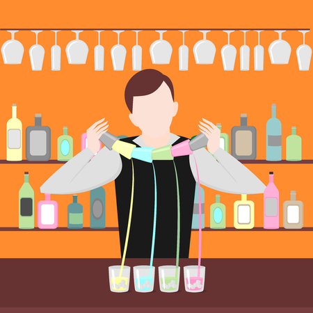 barmen: Barman show. Night life in bar. Man mix beverage. Alcoholic cocktails and bottles icon set.