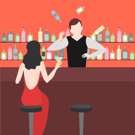 Barman show. Night life in bar. Juggler Man juggle. Alcoholic cocktails and bottles icon set. Illustration