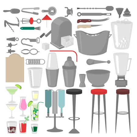 barmen: Flat Barman Mixing, Opening and Garnishing Tools. Bartender equipment. Isolated instrument icon Illustration