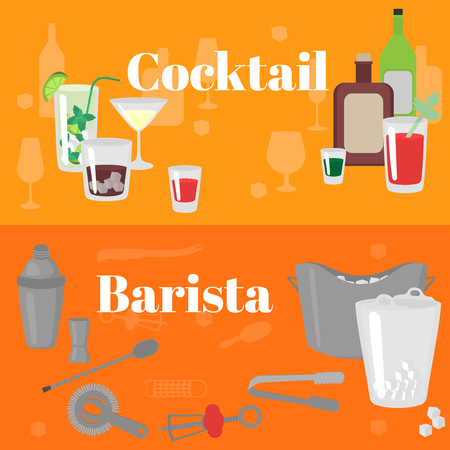 Flat Barman Tools. Bartender equipment. Isolated instrument icon. Flat classic alcohol cocktails