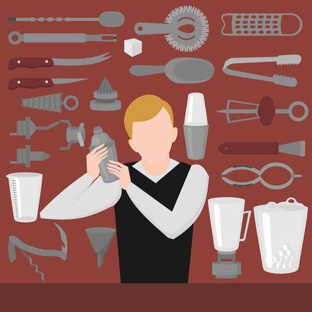 Flat Barman Mixing, Opening and Garnishing Tools. Bartender equipment Shaker, Opener, Mixing glasses.