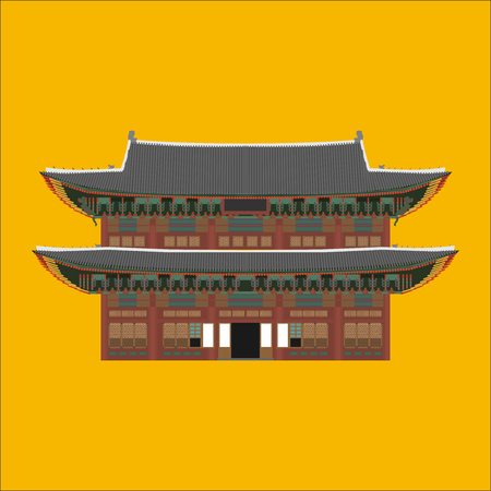 Changdeokgung South Korea country design flat cartoon elements. Travel landmark, Seoul tourism place. World vacation travel city sightseeing Asia building collection. Asian architecture isolated. Illustration