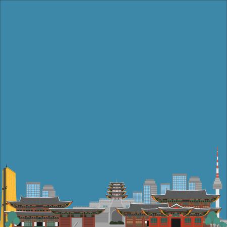 Zuid-Korea land ontwerp platte cartoon elementen. Reisoriëntatiepunt, het toerismeplaats van Seoel. Wereld vakantie reizen stad bezienswaardigheden Azië gebouw collectie. Aziatische architectuur geïsoleerd.