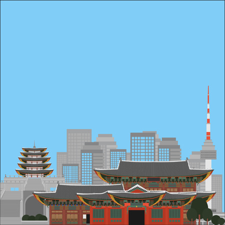 South Korea country design flat cartoon elements. Travel landmark, Seoul tourism place. World vacation travel city sightseeing Asia building collection. Asian architecture isolated.