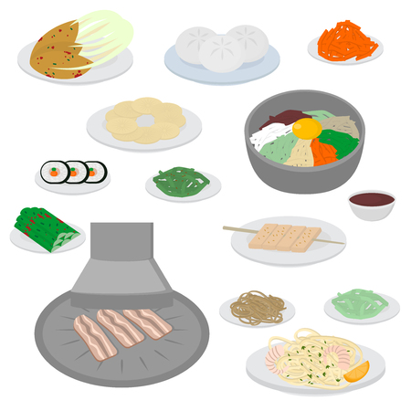 Set of korean food flat design elements. Asian street food menu. Traditional dish kimchi, dumplings, noodle and bibimbap.