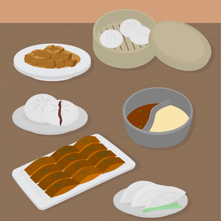 Set of chinese food flat design elements. Asian street food menu. Traditional dish Peking duck, soup huo guo, pork and tofu. Dumplings jiaozi and baozi, noodles and bun.