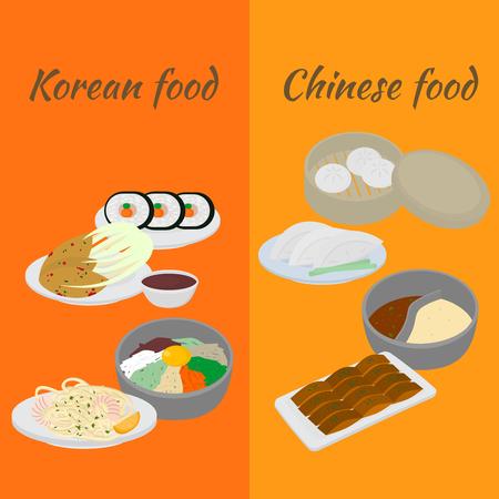Set of korean and chinese food flat design elements. Asian street food menu. Traditional dish kimchi, dumplings, noodle and bibimbap. Peking duck, soup huo guo. Dumplings jiaozi and baozi Illustration