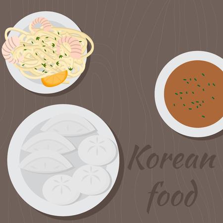 Set of korean food flat design elements. Asian street food menu. Traditional dish dumplings and noodle
