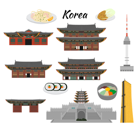 South Korea country design flat cartoon elements. Travel landmark, Seoul tourism place. World vacation travel city sightseeing Asia building collection. Asian architecture isolated. Street food menu